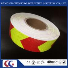 Matériau réfléchissant de PVC de peigne de miel de flèche de double couleurs de haute visibilité