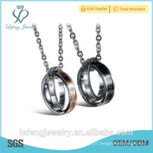 Top quality jewelry Stainless steel couples personalized rings lovers necklaces