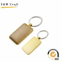 Porte-clés en bois de rectangle en métal de promotion