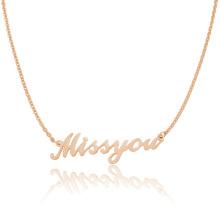 Collar de Miss Dollar You Letter de 1 libra Collar de diseño de joyería Light Chain Rose Gold Light