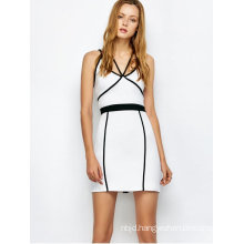 White Piping Bodycon Bandage Slip Dress