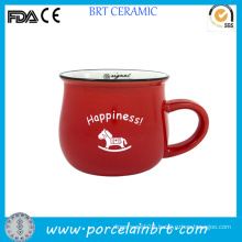 Ceramic Promotion Novelty Cheap Red Milk Cup