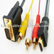 Позолоченный 5-футовый 1.5-мегапиксельный hdmi к vga 3rca av кабель hdmi к кабелю vga для Вашего монитора или телевизора