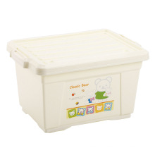 Cartoon Beige Plastic Storage Box with Lock (SLSN051)