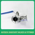 Válvula de bola sanitaria de tres vías con abrazadera 3A