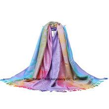 100% Polyester Mode Jacquard Long Écharpe avec Frange