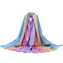 100% Polyester Fashion Jacquard Long Scarf with Fringe