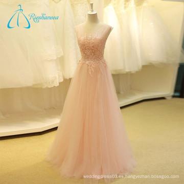 Lace Appliques Sequined rebordear sin mangas de color rosa vestido de novia