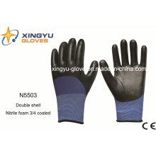 Guantes de trabajo de seguridad de espuma de nitrilo con doble capa de poliéster (N5503)