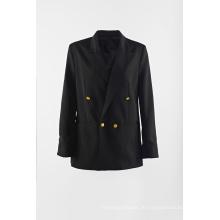 Schwarzer Regenanzug für Damen mit Zweireiher