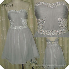 PP2524 verdadera muestra de gasa de dama de honor rebordeado corto vestido de dama de honor 2014