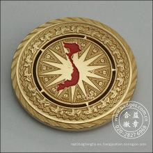 Insignia redonda de oro, decoración de la carcasa de monedas (GZHY-DH-082)