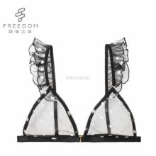FDBL7111401 дамы горячая продажа новый дизайн черная точка продажи галантерейных полностью прозрачная передняя закрытие нижнее белье бюстгальтер наборы в фотографии