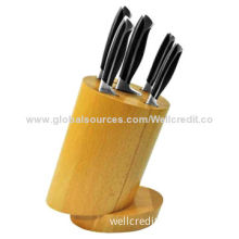 Ceramic knife set with bamboo block