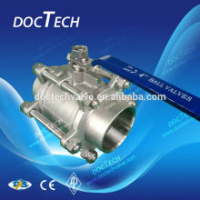 "DN100 4.0"" CF8 3 piece female ball valve, 3-pc internal thread ball valve for water,oil and gas"