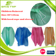 Waterproof and breathable PE long pullover children raincoats With hood rope and sleeves