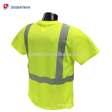 2018 Performance Dry Fit High Visibility Mens Hi Vis Safety T-Shirt Custom Yellow Workwear Wholesale With Reflective Tape Bands