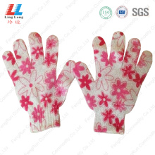 base bathing exfoliating body flower bath gloves
