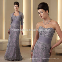 Elegant 2014 Sweetheart Full-Length Ruched Midriff Beaded Lace Mermaid Mother's Dress With 3/4 Long Sleeve Bolero Jacket NB0885