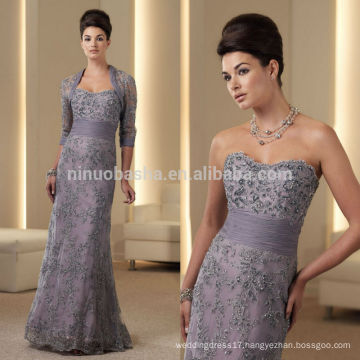 Elegant 2014 Sweetheart Full-Length Ruched Midriff Beaded Lace Mermaid Mother's Dress With 3/4 Long Sleeve Bolero Jacket NB0885