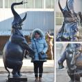 High quality metal craft bronze standing elephant fountain statue