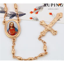 43061 Mode Charme Jésus Croix Rose Plaqué Or Imitation Alliage Cuivre Bijoux Chaîne Collier