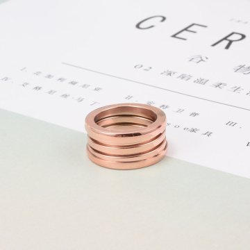 Rose Gold Tre Round Spring Rings For Women