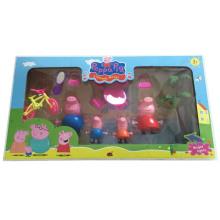 Cartoon populaire de jouets de famille de porc rose pour les enfants