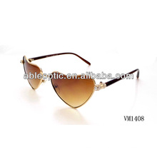 Top fashion heart shaped metal sunglasses