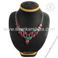 Joyería fina de la boda de la India 925 sterling ruby, esmeralda joyas collares de plata joyas fabricante