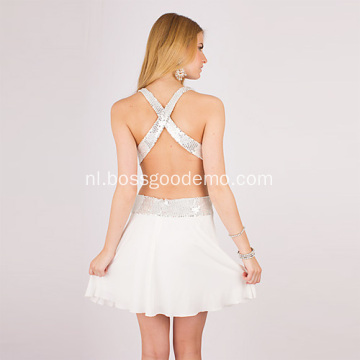 kolom deep-V riemen mini chiffon kralen cocktail jurk