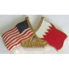 Épinglette croisée de drapeau en métal en cloison douce (insigne-199)