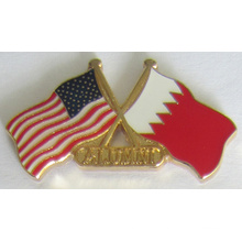 Flag Crossed Metal Lapel Pin in Soft Cloisonne (badge-199)