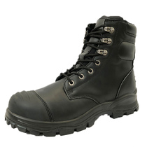 High Quality New Style Black Action Leather Safety Work Shoes High Ankle Steel Toe Anti Static Safety Shoes