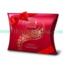 Caja de almohada de embalaje de papel personalizado de lujo con cinta