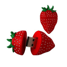 Renewable Design for Wood Custom Tiny Usb Flash Drive 4GB Strawberry Shape PVC USB Flash Drive export to Italy Factories