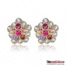 Banhado a ouro cristal Stud Earring designer em massa de jóias feitas à medida (ER0016-C)