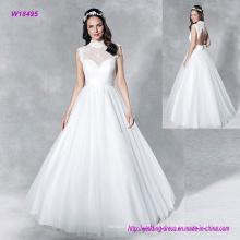 Laço macio adorna o vestido de noiva de uma linha de alta decote feminino com fechadura Finisheda na parte de trás