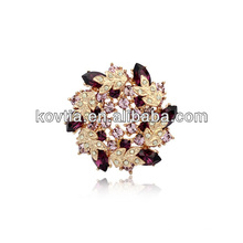 Pino luxuoso da flor da lapela para o broche banhado ouro do casamento dos ternos para mulheres