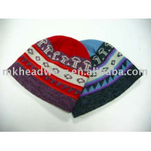 multi-colored wool and acrylic blending jacquard knitted hat