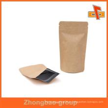 Guangzhou vendor personalizable grabado impresión prueba de humedad de pie hasta bolsas de café de papel kraft con cremallera