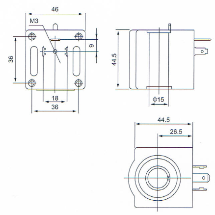 Dimension of three matching coils for R134a/R22/R401A NC electric magnetic valve