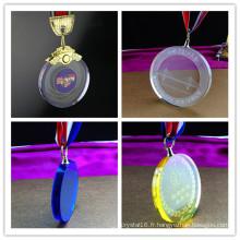Récompense de trophée en cristal coloré de haute qualité