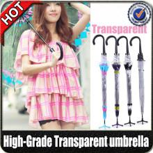 Promocional moda reta cor PVC plástico claro transparente guarda-chuva