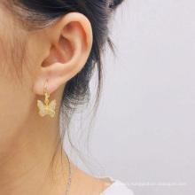 Charm Butterfly Hoop Earrings 14K Gold Crystal Butterfly Drop Dangle Earrings for Women and Girls