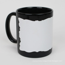 11oz black luminous mug with irregular edge