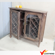 Puertas de vidrio Vintage Brown Country Retro Wooden Drinks Cabinet