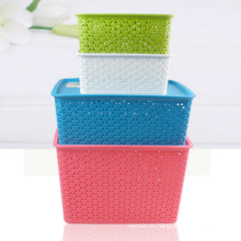 Caja de almacenamiento de plástico de tejido para casa (SLSN004)
