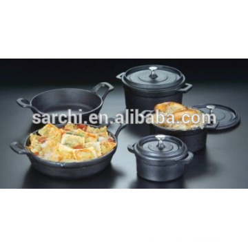 Black enamel cast iron cooking pot for table dish