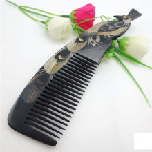 Natural Horn Comb Carved Peacock Elegant Hair Accessories Anti Static Comb